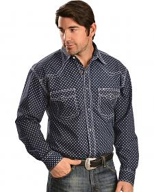 Red Ranch Navy and White Print Western Shirt