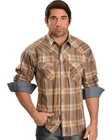 Wrangler Retro Brown Plaid Long Sleeve Western Shirt