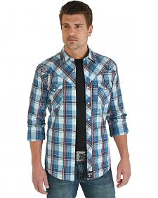 Wrangler Rock 47 Blue and White Plaid Embroidered Shirt