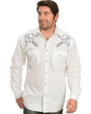 Red Ranch Black and Blue Embroidered Yoke Western Shirt