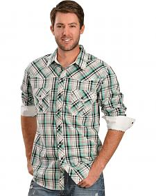 Rock & Roll Cowboy Green Plaid Poplin Shirt