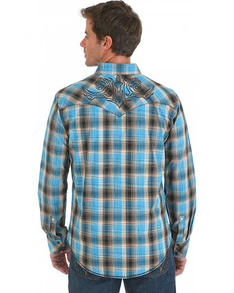 Wrangler Rock 47 Embroidered Blue and Brown Plaid Shirt