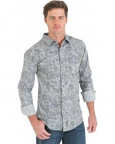 Wrangler Retro Grey and Black Paisley Print Long Sleeve Shirt
