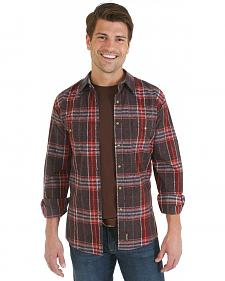 Wrangler Retro Brown, Red and Blue Plaid Overprint Long Sleeve Shirt