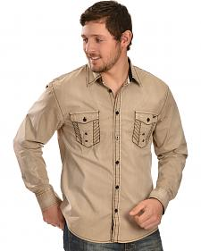 Roar Tactful Khaki Long Sleeve Shirt