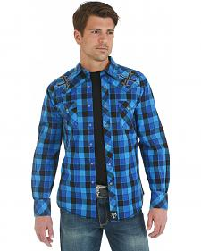 Wrangler Rock 47 Embroidered Blue and Black Plaid Long Sleeve Shirt