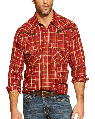 Ariat Hart Redwood Plaid Retro Snap Long Sleeve Shirt $54.95 AT vintagedancer.com