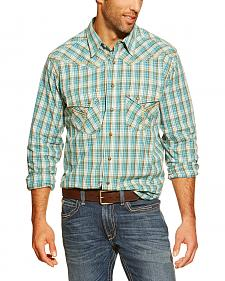 Ariat Hardin Blue Plaid Retro Snap Long Sleeve Shirt