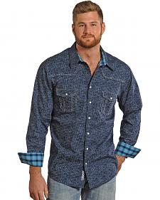 Rock and Roll Cowboy Blue Distressed Poplin Print Western Shirt