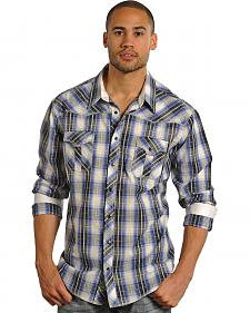 Rock and Roll Cowboy Black and Blue Plaid Blanket Stitch Western Shirt