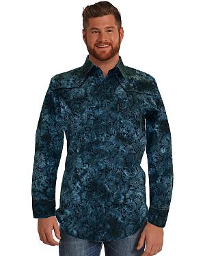 Rock and Roll Cowboy Blue Paisley Western Shirt
