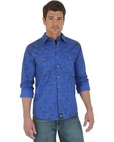 Wrangler Rock 47 Blue Printed Poplin Shirt