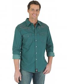 Wrangler Rock 47 Brushed Twill Green Western Shirt