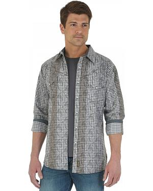 Wrangler Retro Black and Grey Overprint Western Shirt