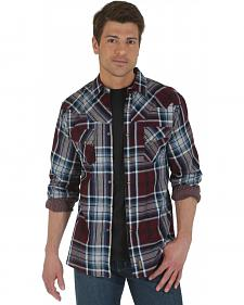 Wrangler Retro Burgundy Plaid Western Shirt
