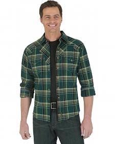 Wrangler Retro Green Plaid Western Shirt