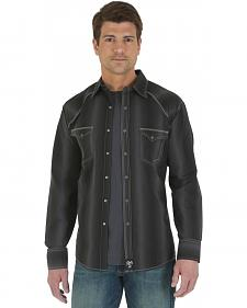 Wrangler Rock 47 Black Striped Poplin Western Shirt