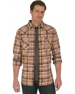 Wrangler Retro Brown and Tan Plaid Twill Western Shirt