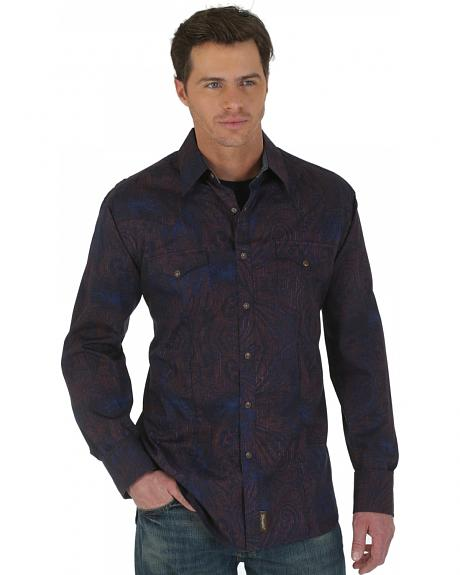 Wrangler Retro Brown and Navy Print Western Shirt
