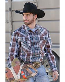 Cinch Men's Modern Fit Brown Plaid Snap Long Sleeve Shirt