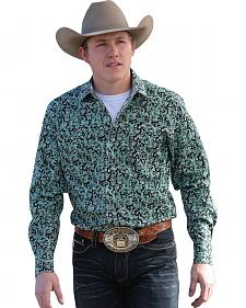 Cinch Men's Modern Fit Black & Green Paisley Snap Long Sleeve Shirt