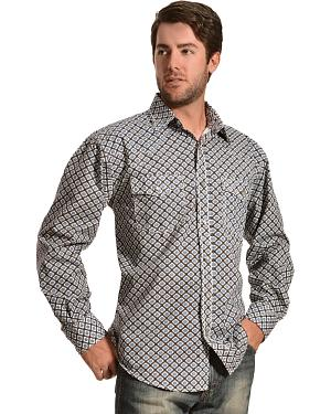Red Ranch Blue Diamond Print Long Sleeve Shirt