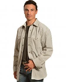 Red Ranch Cream and Brown Plaid Western Shirt