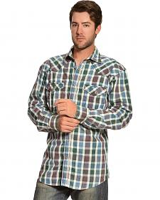 Red Ranch Blue and Brown Check Long Sleeve Shirt