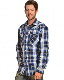 Red Ranch Fancy Yoke Blue Plaid Shirt