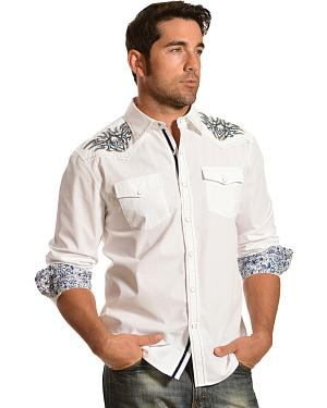 Red Ranch White Silver and Blue Embroidered Western Shirt