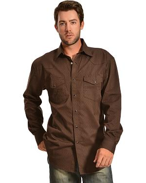Red Ranch Brown Dobby Double Yoke Western Shirt