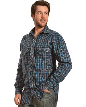 Red Ranch Navy and Teal Plaid Western Shirt