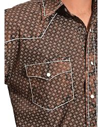 Red Ranch Wash Brown Print Western Shirt at Sheplers