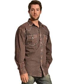 Red Ranch Wash Brown Print Western Shirt