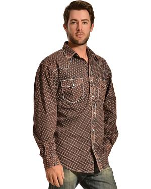 Red Ranch Wash Brown Print Western Shirt