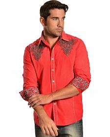 Red Ranch Embroidered Red Distressed Vintage Western Shirt