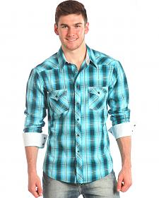 Rock and Roll Cowboy Blue Plaid Ombre Western Shirt