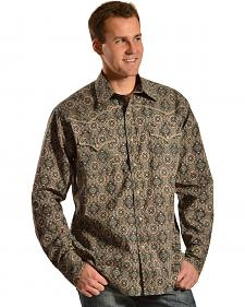 Red Ranch Men's Brown Medallion Print Western Shirt