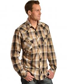 Red Ranch Tan and Black Plaid Embroidered Western Shirt