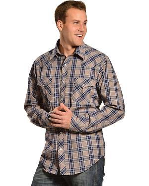 Red Ranch Mens Navy Plaid Embroidered Western Shirt