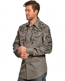 Red Ranch Charcoal and Black Embroidered Western Shirt - Sheplers Exclusive