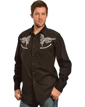 Red Ranch Black and Cream Embroidered Western Shirt - Sheplers Exclusive