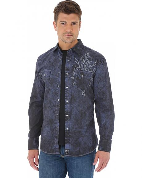 Wrangler Rock 47 Men's Washed Navy Shirt with Embroidery