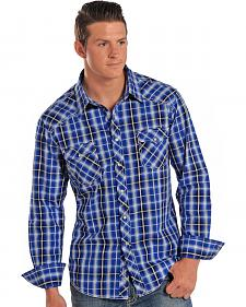 Rock & Roll Cowboy Men's Blue Plaid Western Shirt