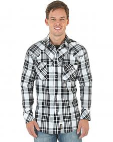 Wrangler Retro Men's Black and White Plaid Western Shirt
