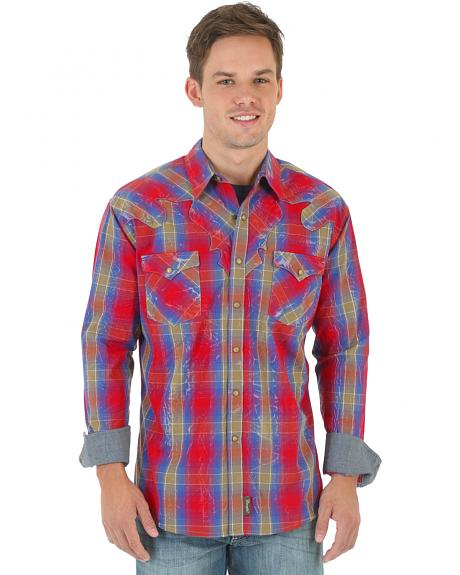 Wrangler Retro Men's Red and Blue Plaid Dobby Western Shirt