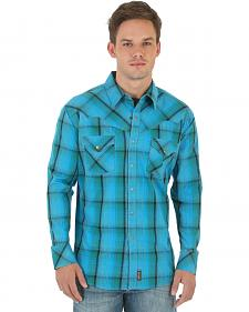Wrangler Retro Men's Green, Blue, and Khaki Plaid Western Shirt