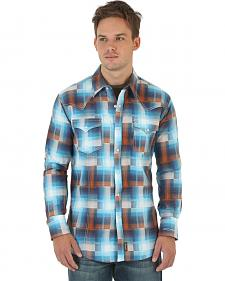 Wrangler Retro Men's Blue, Rust, and White Plaid Western Shirt