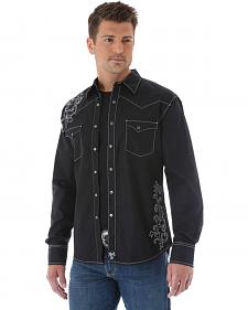 Wrangler Rock 47 Embroidered Solid Black Long Sleeve Shirt
