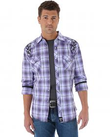 Wrangler Rock 47 Embroidered Purple Plaid Long Sleeve Shirt